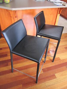 Espresso Leather & chrome bar chairs