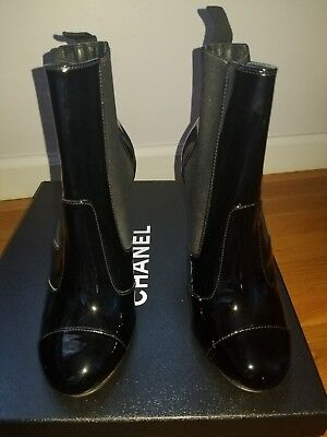 Chanel black Short Boots With Chain 36 36.5 new in box Ret $1500 patent leather