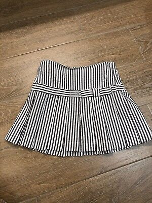 il Gufo Girl Grey And White Striped Pleated Skirt Size 5
