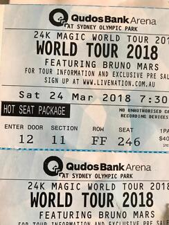 2 x FRONT ROW SEATS - BRUNO MARS HOT SEAT PACKAGE!
