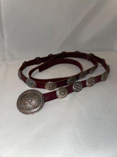 Sterling Silver Concho Belt Vintage Native American Navajo Artist Aspen Hawk