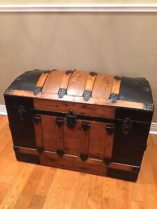 Antique Trunk 1890's - Wood Refinished- Beauty