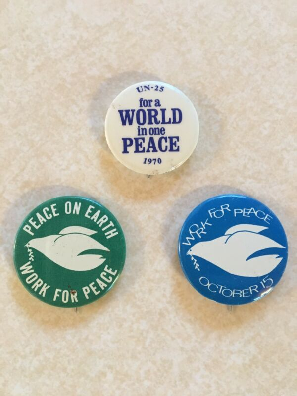 Work for Peace Anti-Vietnam War Protest Buttons/Pins 1969-70