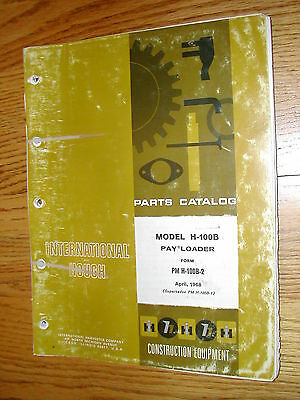 International Hough H-100b Parts Manual Book Catalog Wheel Pay-loader Guide List