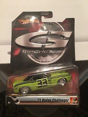 Hot Wheels G Machines 1971 Dodge Challenger Lime Green/Black Die Cast 1/50