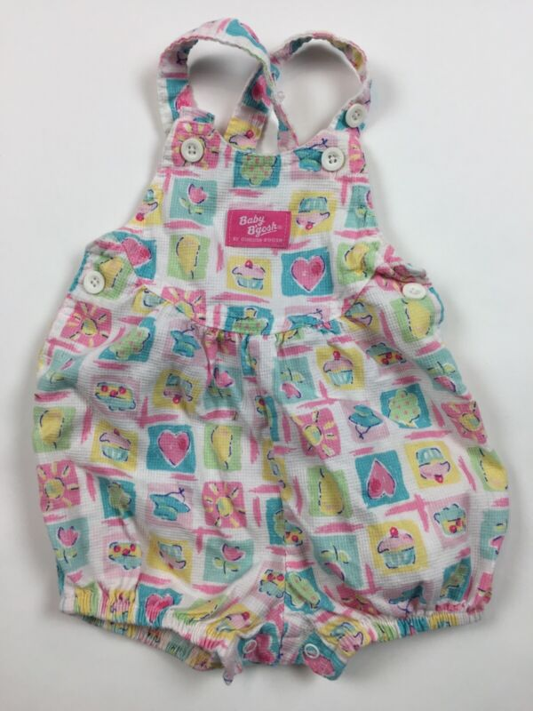 Vintage Oshkosh Bgosh Baby Girls Pink Cupcake Summer Bubble Romper Overalls MM22