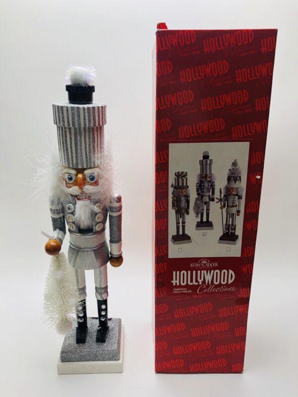 "Kurt Adler Hollywood Christmas Tree Soldier Nutcracker Silver White 18"" Wood"