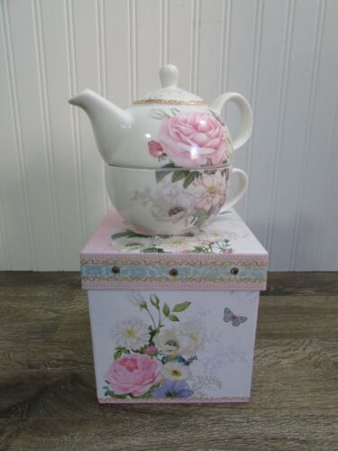 Summer River ~ Tea for One Stackable Teapot & Cup ~ Pink Rose Pattern W/Box