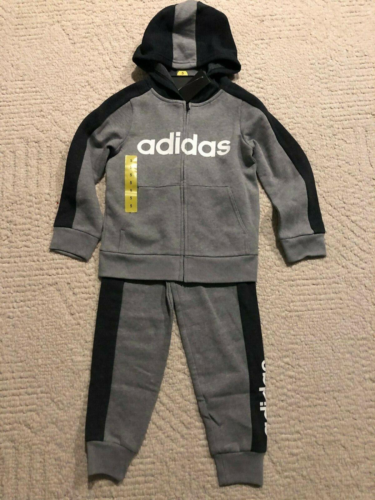 adidas Little Boys Full-Zip Gray Jogger Sweats Track Suit  S