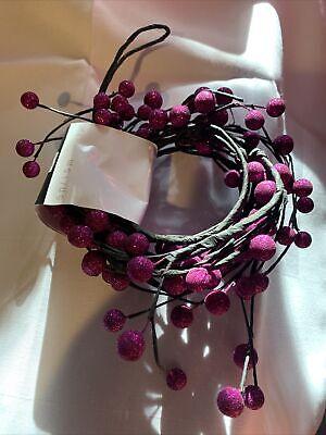 Purple Glitter Balls Sparkles Black Garland Autumn Fall Halloween 5 Ft Decor NWT