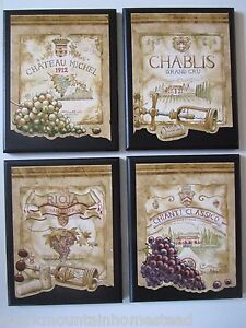 Wine Label Style Plaques 4 Wall Decor Kitchen Vineyard Pictures French Italian