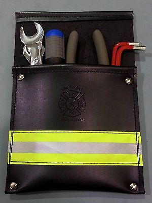 Sav-a-jake Firefighter Leather Pocket Tool Pouch W3m Yellow Reflective Stripe