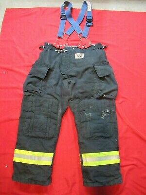 Morning Pride Fire Fighter Turnout Pants 40 X 32 Black Bunker Gear Suspenders