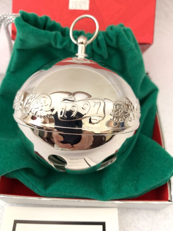 1997 Wallace Sterling Silver Plate Sleigh Bell Ornament Warmth of Christmas Vtg