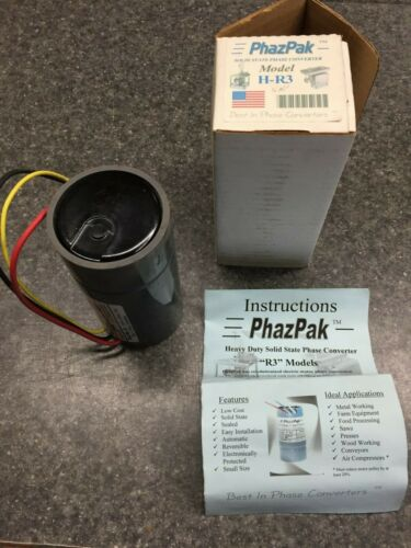 New PhazPak #H-R3, 5 hp, 230 volt, phase converter, Run 3 phase motor on 1 phase