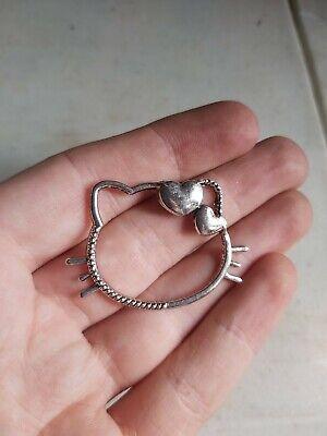 8 x Hello Kitty Cat Silver Charm Pendant UK  (am300) 30x45mm jewellery