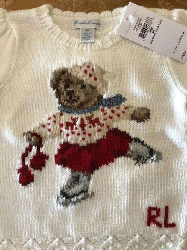 Ralph Lauren Christmas Bear sweater 9 mos. NWT