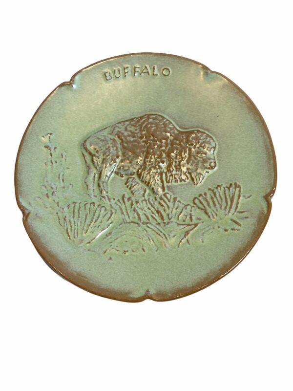 Frankoma Pottery Plate Buffalo Oklahoma Wildlife