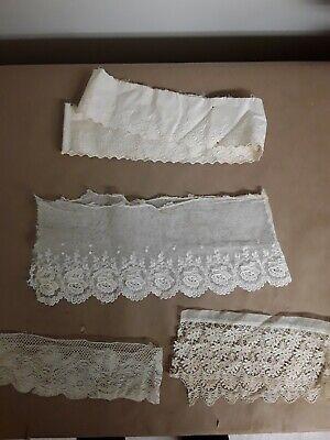 4 Asstd Pieces Scrap Antique Lace Cotton #9