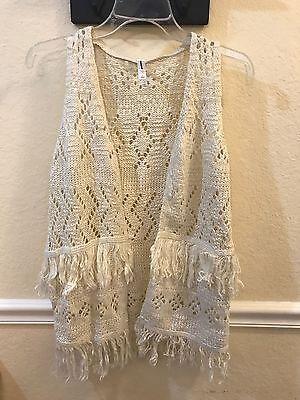 b16a71d9479 Girls  Xhilaration Fringe Sweater Vest ~ Ivory NWT Lightweight Back to  School!