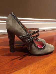 Kate spade grey suede and alligator Mary Jane pumps