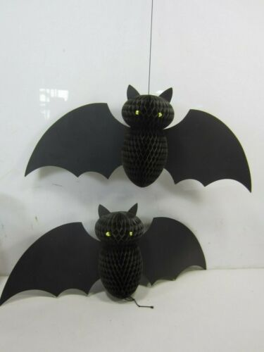 2 Retro Black Halloween Honeycomb Tissue Bat Hanging Decorations