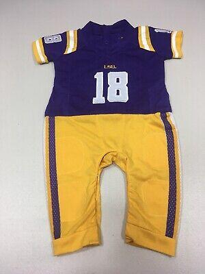 NCAA Boys Infant Football Uniform Pajamas Purple/Gold Lsu Tigers 6-9 Months Used