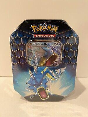 Pokemon Hidden Fates Tin-Gyarados Card & 4 Booster Packs Factory Sealed GX TCG