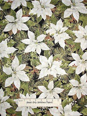 Woodland Christmas Poinsettia & Pine Fabric Red Rooster Gold Accent Cotton Yard