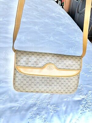 Gucci Vintage Shoulder Bag Canvas & Leather