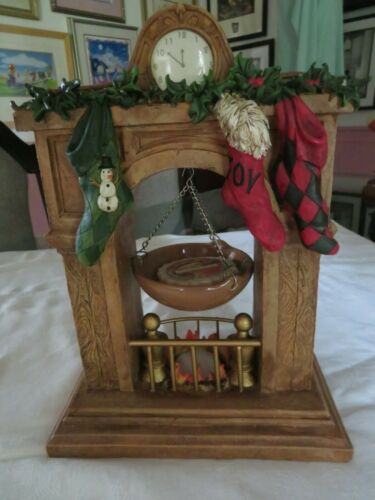 Yankee Candle MAREX Christmas FIREPLACE MANTLE w/ Hanging Wax Tart Warmer