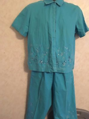 Capri Drawstring Shorts (Cappagallo BLUE Linen 2-pc short sleeved top & capri set-Sz M DRAW STRING BLING)