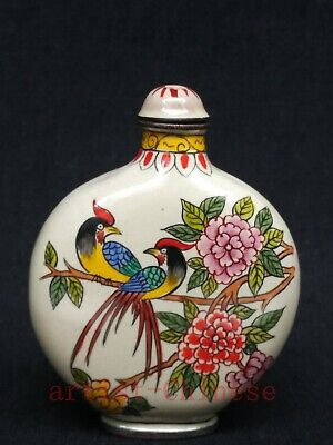 Collection Chinese Old Copper Cloisonne Painitng Flowers and Birds Snuff Bottle