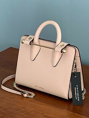 NWT $420 STRATHBERRY NANO TOTE Pink LEATHER Crossbody Bag BRAND NEW~LAST ONE!
