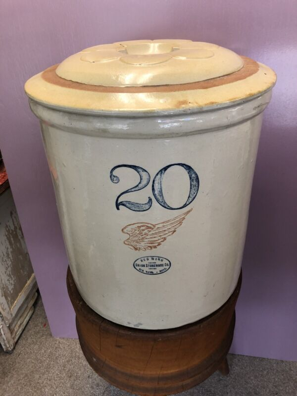 Antique 20 Gallon Red Wing Crock – Large Wing with Salt Glaze Lid