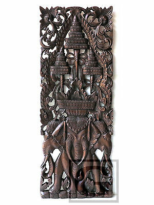 (Elephant 3 Heads New Wood Carving Home Wall Panel Mural Decor Art Statue gtahy)