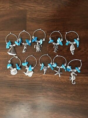 Set of 10 Seaside Wine Charms w/semi-precious stone chips and opalescent beads.