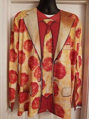 Faux Real Men's XL Pizza Suit shirt Halloween Costume Long Sleeve T-Shirt
