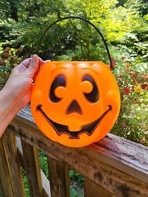 Vtg Halloween Pumpkin Trick or Treat Candy Bucket 1997 Grand Venture Blow Mold