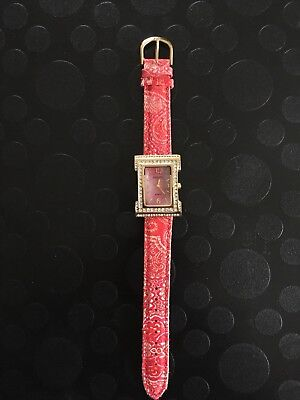 Joan Rivers Classics Collection Watch With Swarovski Crystals And Red Strap