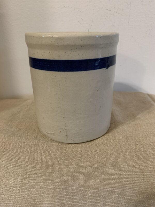 VTG stoneware crock Cream W/ blue line old mayonnaise jar dripping jar heavy