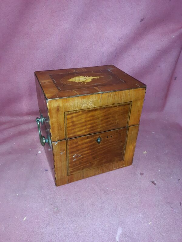 Antique English Shell Inlaid Fitted Box