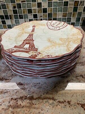 222 Fifth Joyeaux Noel Gold Christmas Holiday Red Dinner Plates, SET OF 3