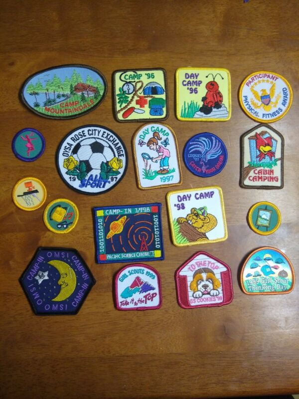 Lot of 18 Vintage Girl Scout Camp, Council, and Other Patches--1990s