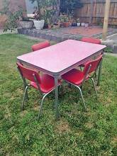1950's RETRO VINTAGE Red Laminex KITCHEN TABLE & Vinyl CHAIRS SET Thornbury Darebin Area Preview