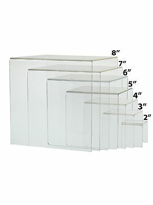 Cube Counter Riser Jewelry Pedestal Display Full Set Of 7 Clear Acrylic