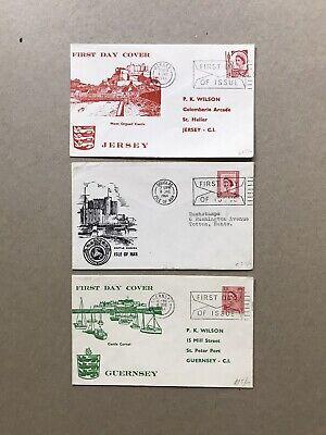 GB 1964 FDC +QEII Machin Regional=Jersey/Isle of Man/Guernsey +Mono-Color Cachet