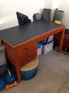 Office desk green vinyl top.