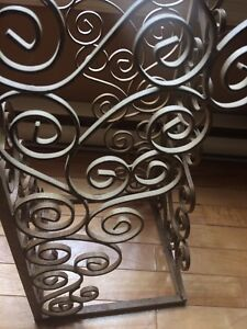 Cast iron and glass plant stand table