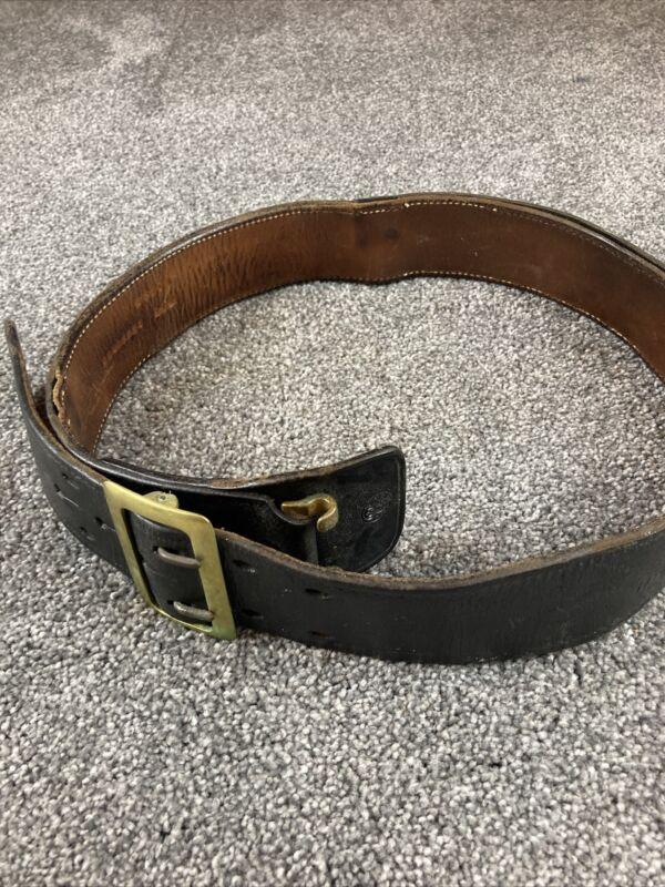 Vintage Black Leather Police Belt Size 36 Security Military Law Enforcement